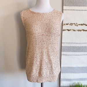 NWOT Zara Knit Blush Pink Tie Back Sequin Tank M